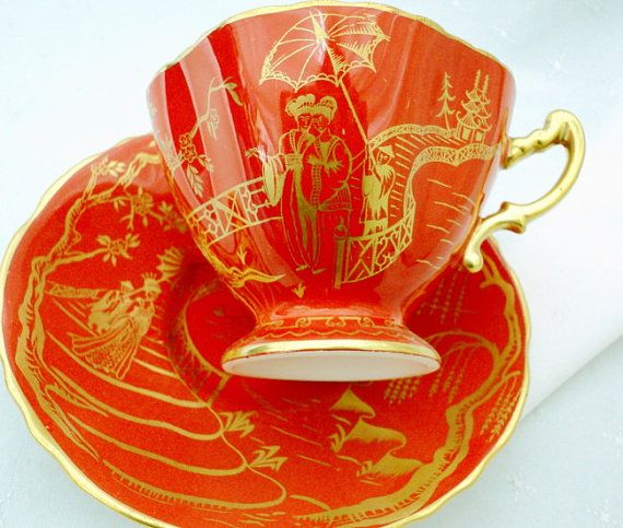 Hammersley art deco orange Tea cup and saucer by simplytclubhouse