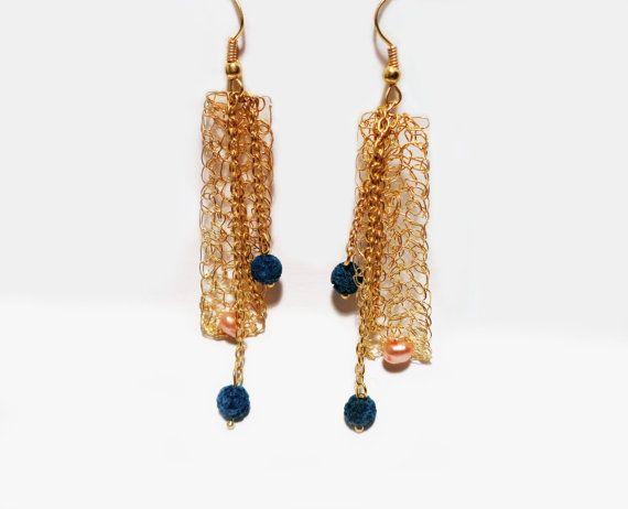 Blue Lava long earrings crocheted brass wire fresh by AlgoElegante