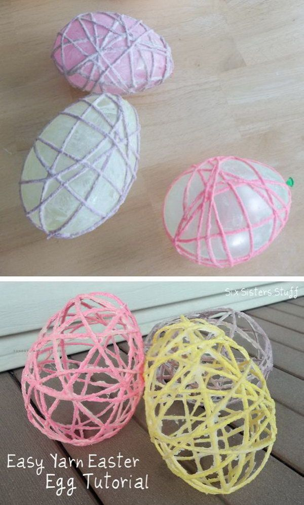 Easy Yarn Easter Egg. It is a creative Easter craft made with Mod Podge, balloon and yarn. What a cute Easter garland this would make. http://hative.com/cute-easter-craft-ideas-for-kids/