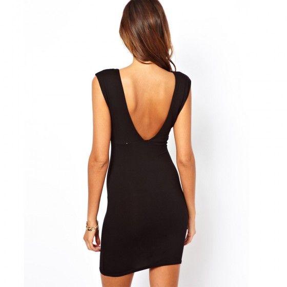 Мода Sexy Женщины платье Глубокий V Окунитесь образным вырезом без рукавов Клубная одежда Мини платье Black