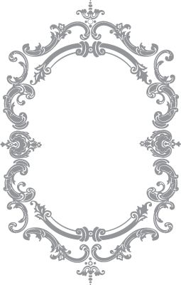 Glass etching stencil of French Oval Frame. In category: Cabinets, Frames