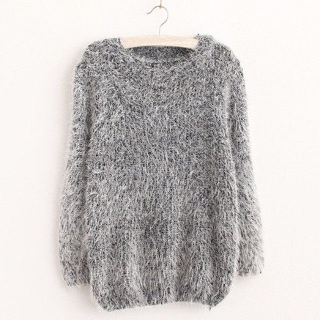 Women Fashion Autumn Winter Warm Mohair O-Neck Women Pullover Long Sleeve Casual Loose Sweater Knitted Tops