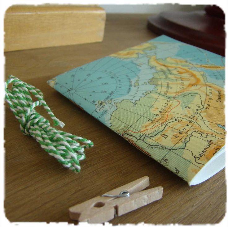 #Handmade #cahier made from old world map #Handgemaakt #atlassschriftje   van @schrijfboek   ook verkrijgbaar bij #webshopsonly #conceptstore #Vughterstraat 47,#denbosch