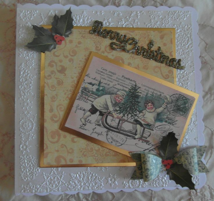 Christmas Card made with crafters Companion Vintage Christmas collection