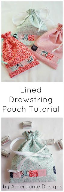 Tutorial for creating Lined Drawstring pouches- great for gifts, jewelry or storage