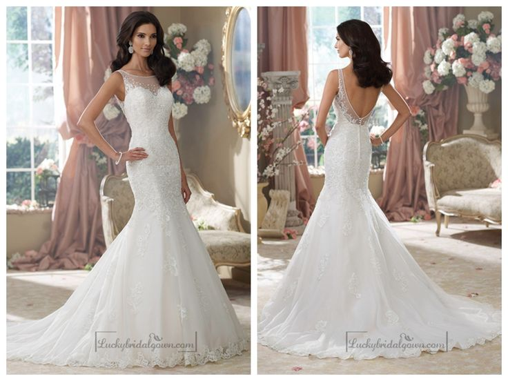 EMBROIDERED V-BACK MERMAID WEDDING DRESSES FEATURES ILLUSION BATEAU NECKLINE