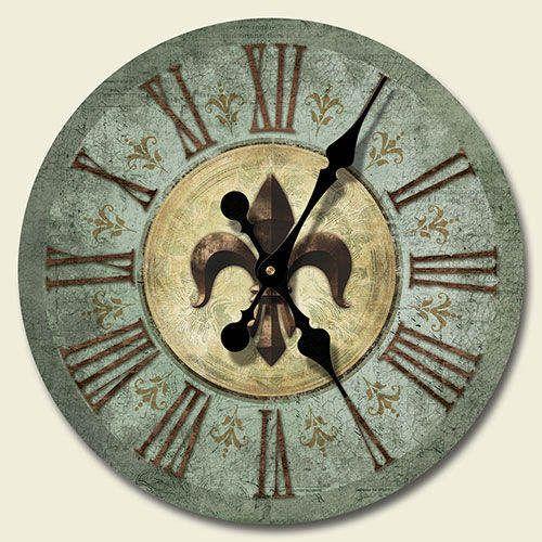 Round Wooden Wall Clock Bourbon St Fleur De Lis French