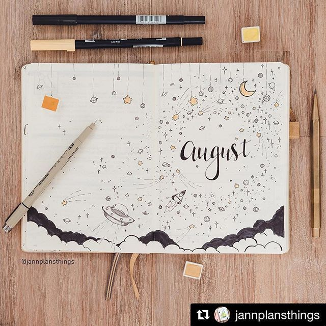 #Repost @jannplansthings (@get_repost)  ・・・  I had one lovely day journalling and spending time with the hubby. Means August is set up! I went for stars this month... you'd never think I was a black wearing professional architect in my day job seeing how much fun I have in my bujo haha. This week's spread and timelapse coming ❤️, and almost done with July's flip through #bulletjournal