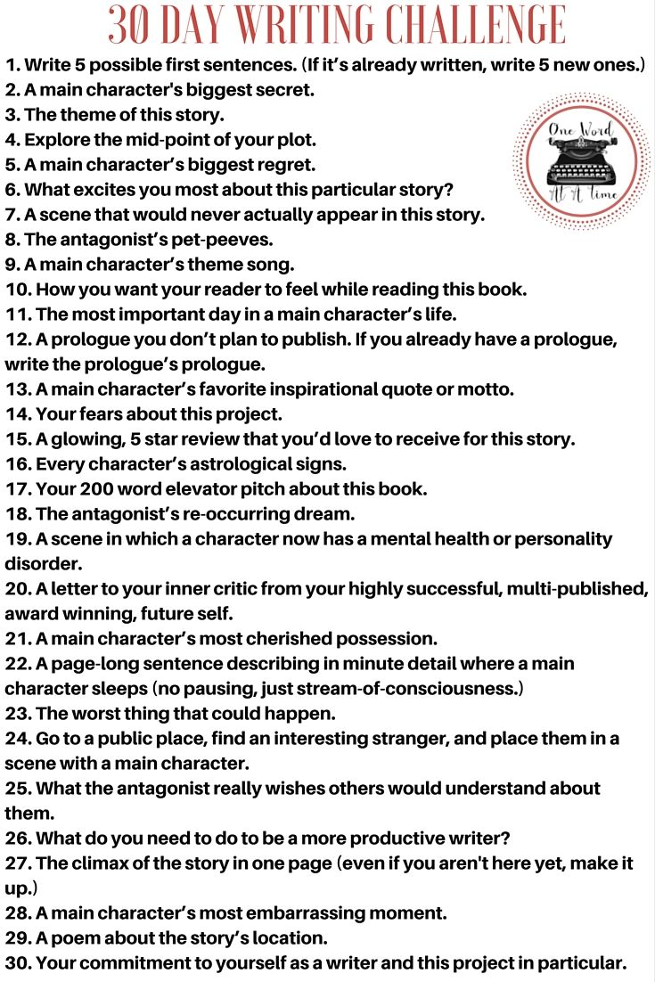 Writers, I have a challenge for you all :D?