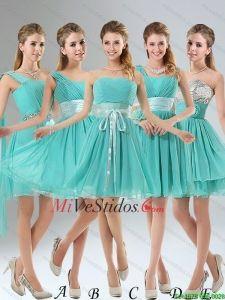 2015 Una línea acanalar Lace Up vestido de dama en Aqua Blue