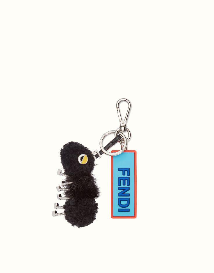 FENDI BAG CHARM - Keyring in black fur - view 1 zoom