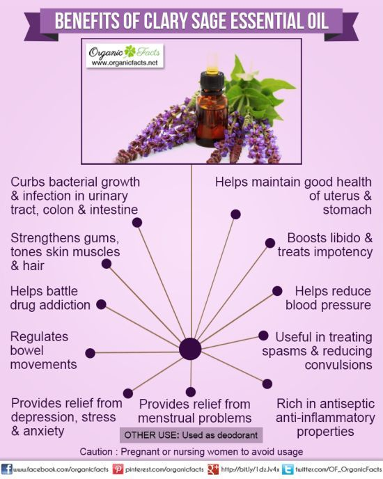 Health Benefits of Clary Sage Essential Oil | Organic Facts- Health benefits of Clary Sage Essential Oil can be attributed to its properties as an antidepressant, anticonvulsive, antispasmodic, antiseptic, aphrodisiac, astringent, bactericidal, carminative, deodorant, digestive, emenagogue, euphoric, hypotensive, nervine, sedative, stomachic and uterine substance.