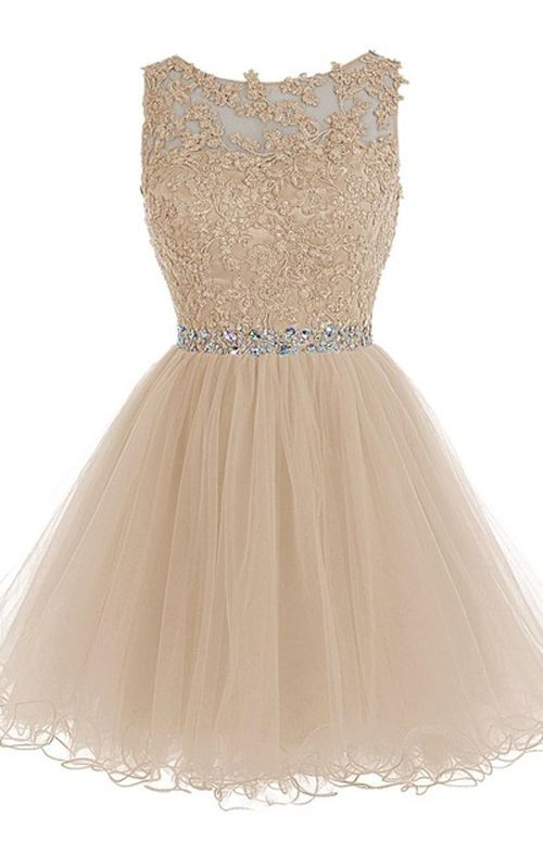 A Line Cap Sleeve Beading Lace Crystal Appliques Champagne Sleeveless Tulle Mini Shot Homecoming Dress