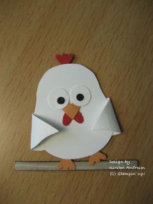 By Kirsten Andresen. Chicken. Uses the Stampin' Up Two Step Owl Punch.