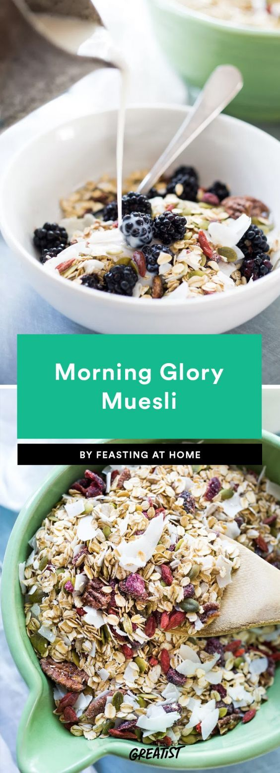 Morning Glory Muesli  Loaded with chia, flax, and hemp seeds, this low-fat and sugar-free muesli's got nothing but the good stuff. Go crazy with the dried fruit (we love blueberries and raspberries) to make it a little sweeter. The best part? You don't even have to turn on the oven.