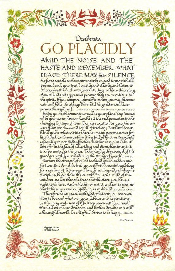 Desiderata Poem 11 X 17 Poster WILD FLOWER by DesiderataSuperstore