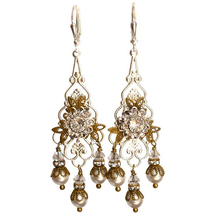 Vintage Chandelier Rhinestone and Simulated Pearl Earrings, Two-Tone  Victorian Bridal Earrings - Best 25+ Vintage Bridal Earrings Ideas On Pinterest Vintage