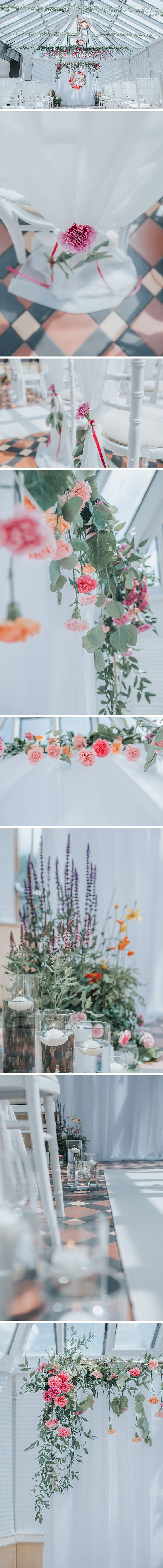Flower and candle decor at the faversham wedding venue in Leeds | rose gold details