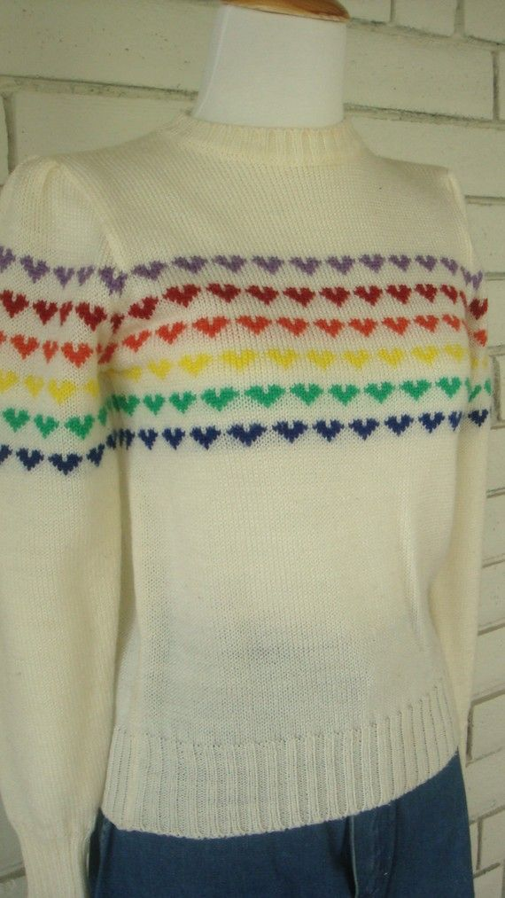 RAINBOW HEARTS SWEATER vintage 1980s by CherryBombVintage77, $48.00 - I actually OWNED this sweater.