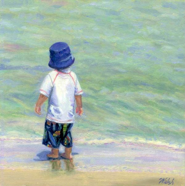 Original Oil Painting little boy on the beach by BarbaraWalshArt