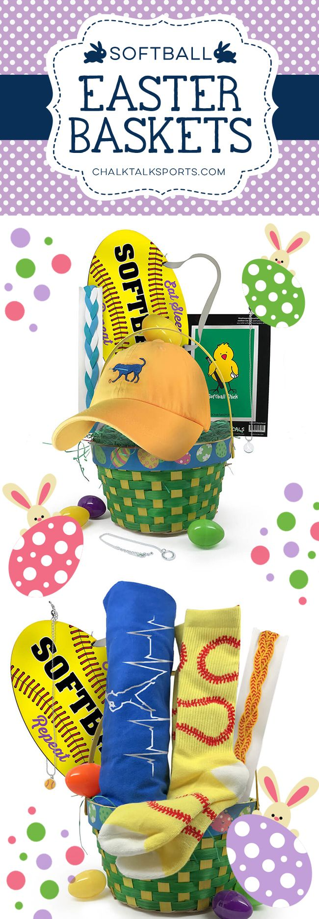 Softball players will love our softball Easter baskets. They're filled with special hand-picked goodies they'll be sure to love!