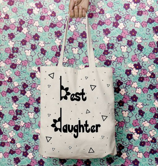 Mom to daughter, Tote bag canvas, Bags for kids, Gift for her,Shoulder bag, Bags and totes, Cotton,Quote, Mother daughter gift, New mom gift