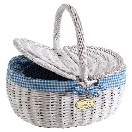 Willow picnic basket in white with a blue gingham liner. Brackets attach to handlebars. Product: Bicycle basketCons...