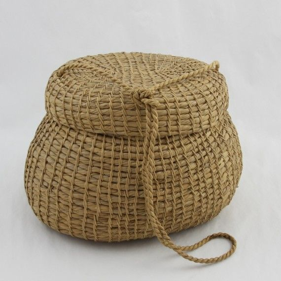 African Baskets With Lids: Unusual Vintage African American NC Sweetgrass Basket
