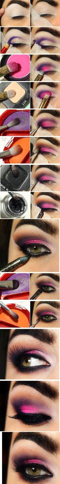 Pink and purple smoky eye