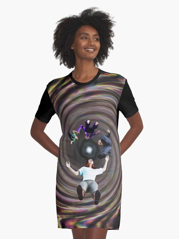 Through the Wormhole Toward the Light Graphic T-Shirt Dresses by Terrella.  A question mark formation of people traveling through a rainbow colored wormhole tunnel toward the bright light at the end. • Also buy this artwork on apparel, phone cases, home decor, and more.