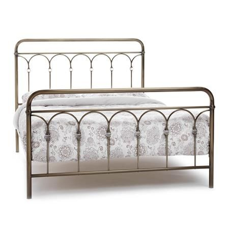 achica shilton king metal bed frame antique brass