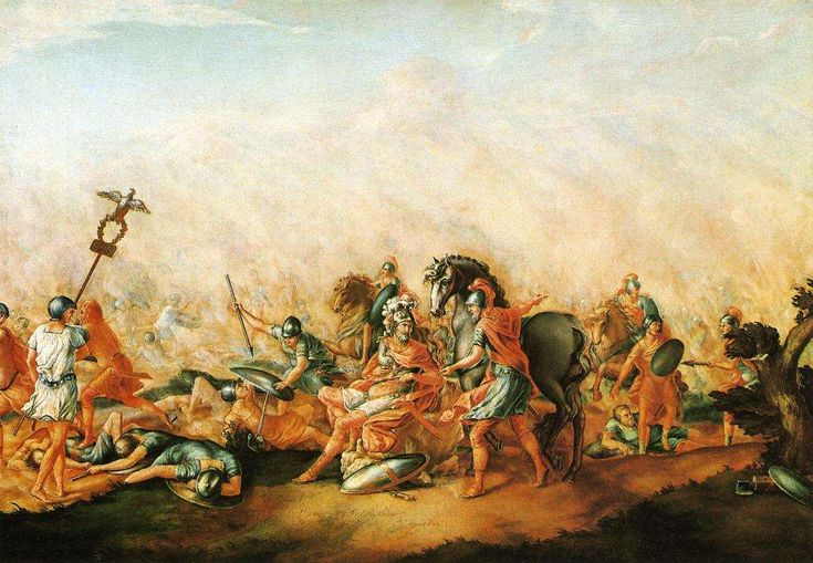 This painting depicts the death of the Roman Consul Lucius Aemilius Paullus at the battle of Cannae. The other Consul, Gaius Terentius Varro escaped the battlefield with 70 cavalrymen.