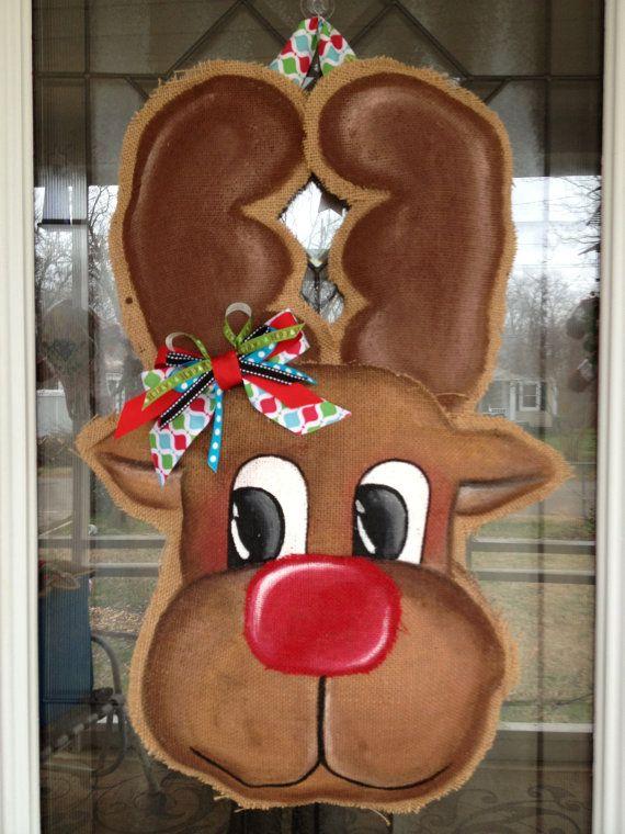 100 Custom Made to Order Burlap Reindeer  Door by BHoweryCreations, $40.00