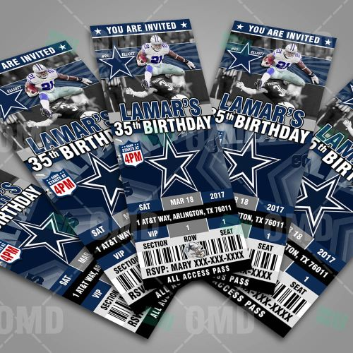 Cool Sports Invites designed like Ticket Style Sports Party Dallas Cowboys