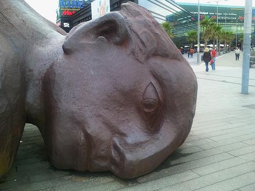 Giant man sculpture in Vigo, Spain.
