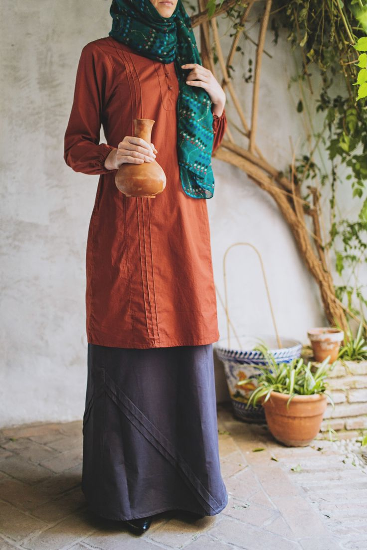 Featuring SHUKR Islamic Clothing's Angled Pleated Skirt