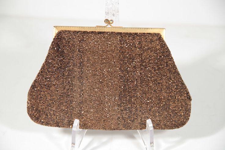 GUCCI Italian VINTAGE Bronze BEADED Rare EVENING BAG Purse CLUTCH Handbag