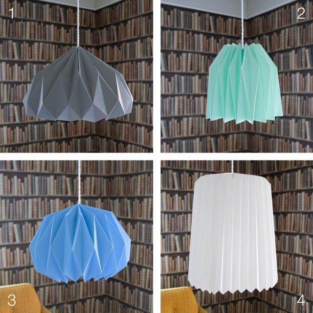 4 different origami lamps you can make yourself.  Disse lampene lager du lett!