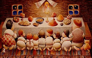 A twelve-dish Christmas Eve supper is traditionally prepared in many Eastern European cultures, including Lithuanian, Polish, and Ukrainian (cultures of regions that were formerly part of the Polish-Lithuanian Commonwealth). Ukrainian: Свята вечеря, Sviata vecheria,  consists of twelve meatless dishes representing the twelve Apostles.