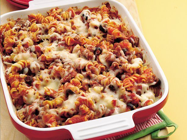 Make-Ahead Pizza Casserole- EASY! Will change out pork sausage with Turkey sausage and mushrooms instead of olives.