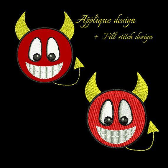Devil smiley embroidery design,devil emoji applique embroidery design,happy face, emoticon, devil face, embroidery applique,smiley design