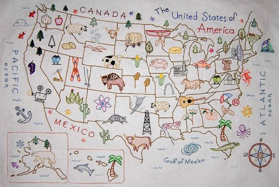 gift idea for yours truly: perfect addition to my collection of illustrated maps.  embroidered usa | theflossbox | $6.50