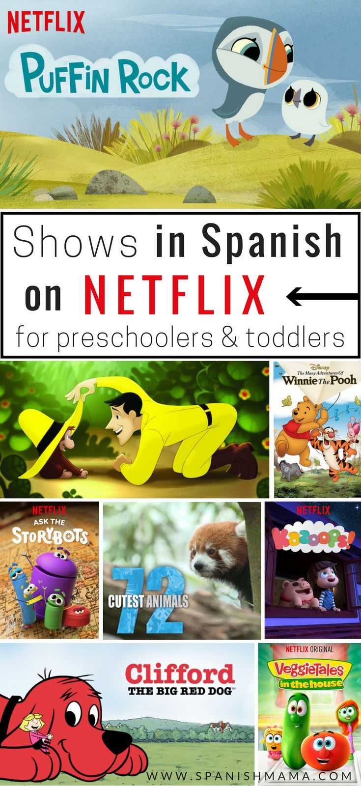 Shows in Spanish on Netflix, for Kids. A list of bilingual series, cartoons, and programs all available on Netflix. #netflixshowsinspanish #spanishnetflixforkids #spanishcartoons