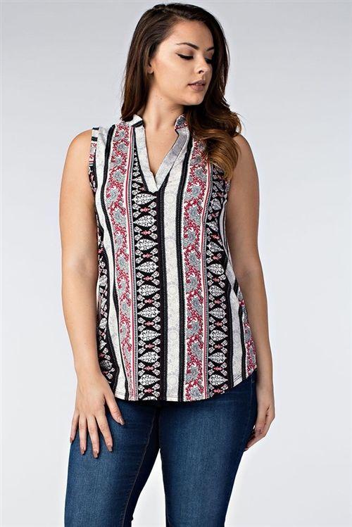 New Trendy Sleeveless Notch Neck Plus Size  For Women 1XL - 2XL - 3XL  #Unbranded #SleevelessNotchNeckPlusSize