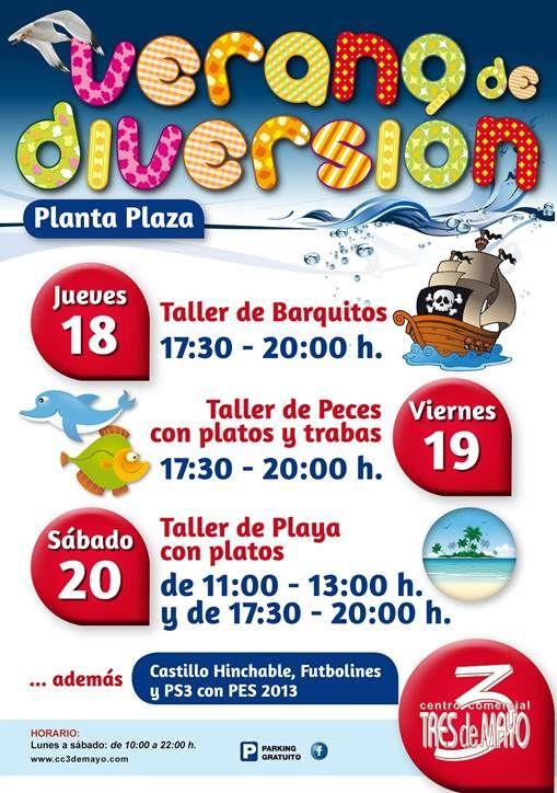 ¡¡El C.C. 3 de Mayo ha preparado unas tardes muy divertidas para los más pequeños!!  Ven a nuestros entretenidos talleres de creación de barquitos, peces, playas… ¡y además habrá un castillo hinchable, futbolines y videojuegos!  Disfruta del Verano y del Placer de Comprar en el C.C. 3 de Mayo  https://www.facebook.com/pages/Centro-Comercial-3-de-Mayo/90187611053