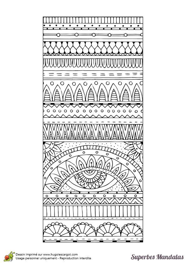 Coloriage d'une mandala rectangulaire avec des motifs faciles à colorier.