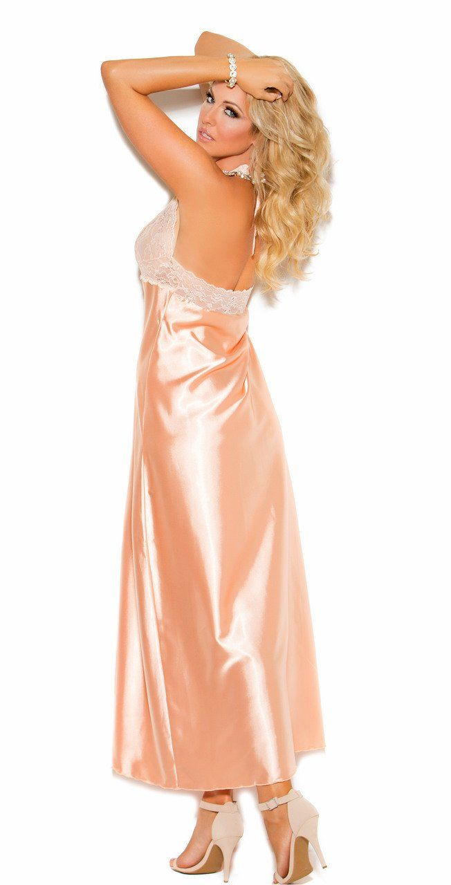 Elegant Moments Peach Lace and Satin Long Halter Neck Nightgown   95%  Polyester 58fb12d36