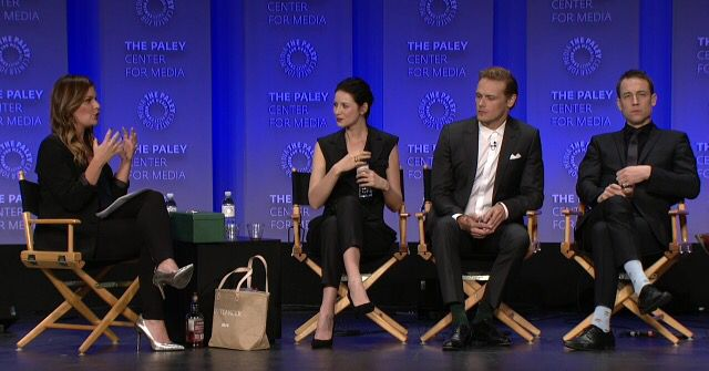 Kristin Dos Santos of E!Online.com moderated the Outlander panel featuring Starz TV Series stars Caitriona Balfe, Sam Heughan, Tobias Menzies, Executive Produce Ronald D. Moore, and Author Diana Ga…