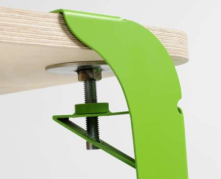 Adjustable Furniture: Clamped Table by Ryan Sorrell