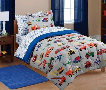 5pc boy blue green red car truck transportation twin comforter set 5pc bed in a bag ms http. Black Bedroom Furniture Sets. Home Design Ideas